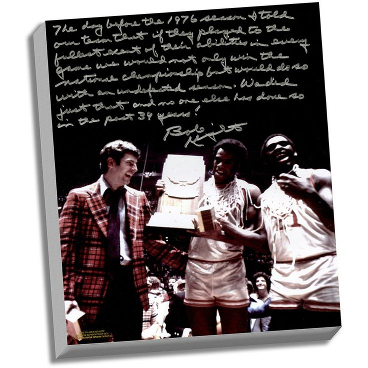 "Steiner Sports Indiana Hoosiers Bob Knight Undefeated Season Facsimile 22"" x 26"" Stretched Story Canvas, Multicolor"