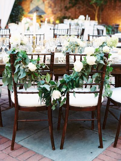 Beautiful sweetheart chairs: http://www.stylemepretty.com/washington-dc-weddings/2015/03/30/elegant-garden-wedding-in-washington-dc/ | Photography: Abby Jiu - http://www.abbyjiu.com/