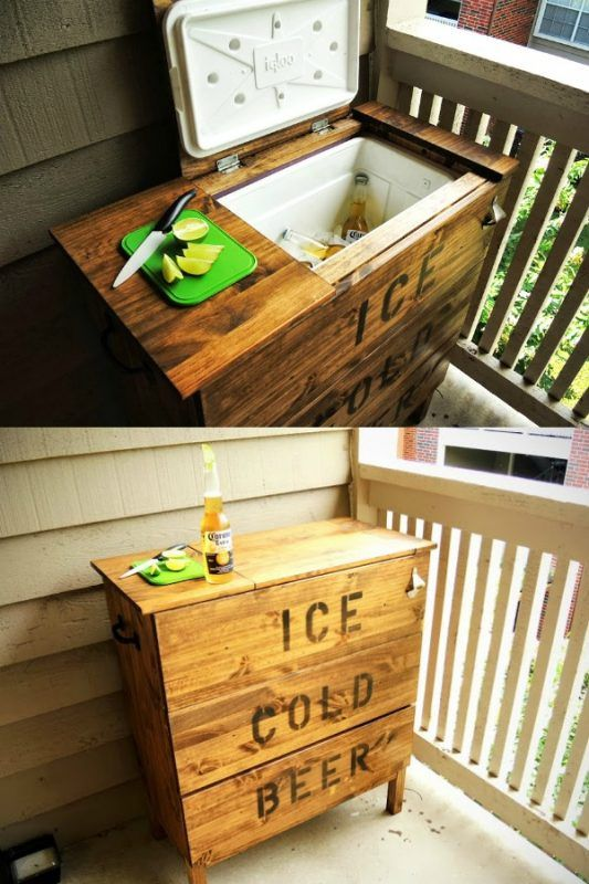 Remodelaholic | Brilliant DIY Cooler Tables for the Patio (with built-in coolers, sinks, and ice boxes)