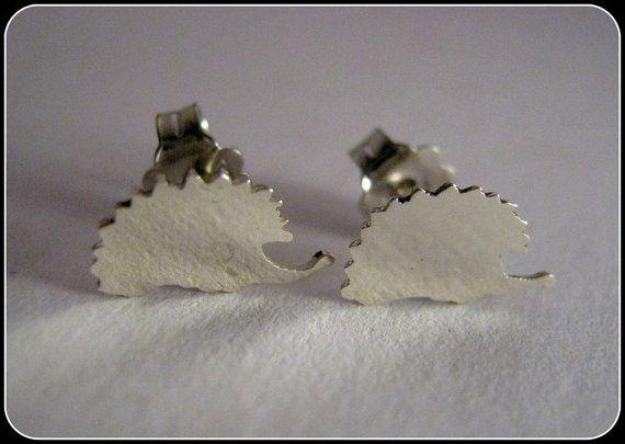 Silver hedgehog earrings by Minicsiga on Etsy