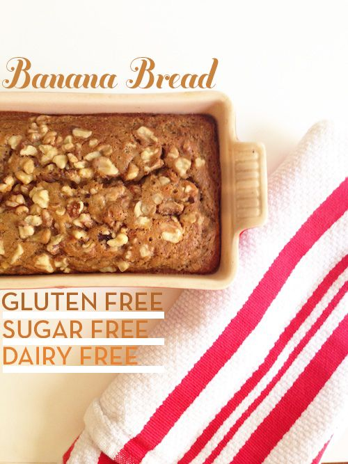 """Sorry, but this isn't sugar free. It might be refined sugar free, but there's a healthy dose of sugar in there from both applesauce and maple syrup/agave nectar. """"Gluten Free Banana Bread"""""""