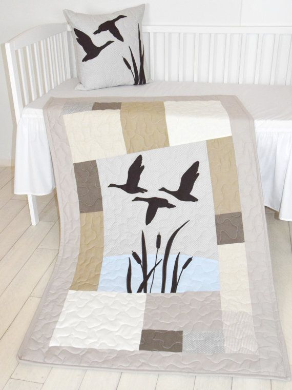 #hunting_bedding  #baby_boy_quilt Hunting Baby Bedding For Boys - Duck Quilt Looking for something completely original for hunter babies? A cute addition to any little boys or