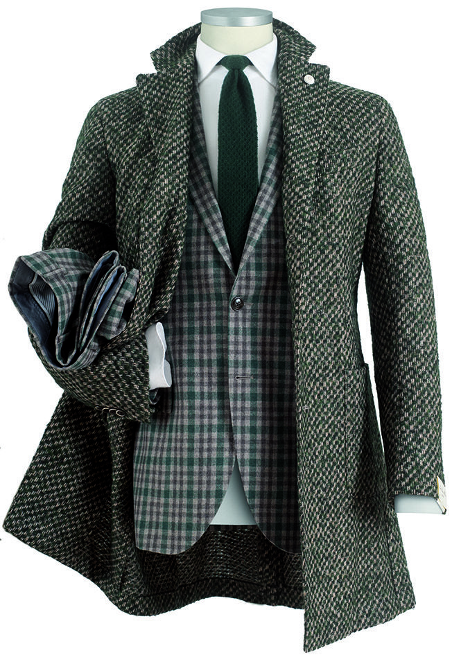 #cappotto da uomo #coat sfoderato in lana punto maglia effetto #boucle nei toni del verde bosco e beige #abito da uomo con #gilet #damier in tela foulè elasticizzata  #fashion #menswear #Lubiam Luigi Bianchi Mantova