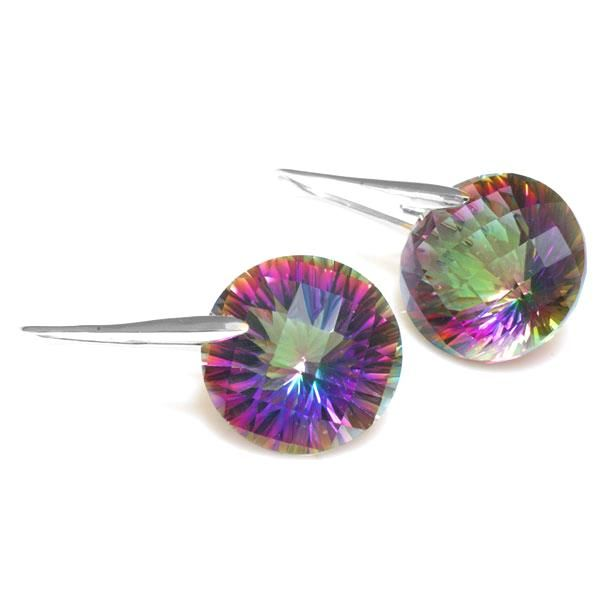 38.5ct Genuine Mystic Fire Rainbow Topaz Round Drop Earring Only $43.29 => Save up to 60% and Free Shipping => Order Now! #Bracelets #Mystic Topaz #Earrings #Clip Earrings #Emerald #Necklaces #Rings #Stud Earrings