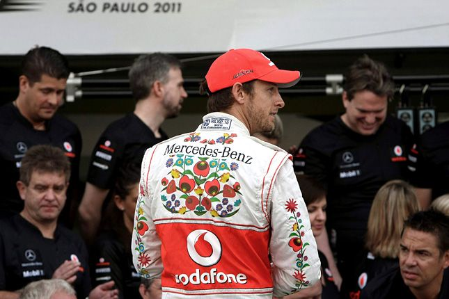 Jenson Button in Kalocsai overall