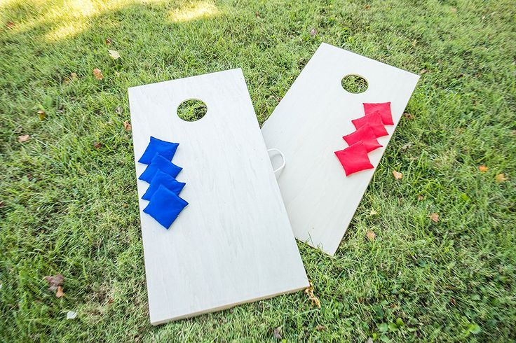 "Triumph ""Woodie"" Tournament Bean Bag Toss Set - Cornhole Set with blue and red bean bags"