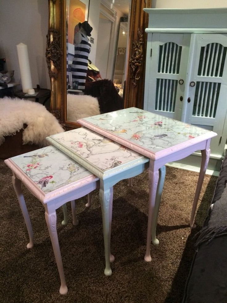 Antique Wooden Nest Of Tables, Pastel Pink Green Annie Sloan Shabby Chic Upcycle. IDEA