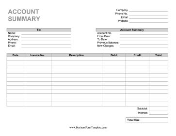 Businesses can send regular customers this printable account summary at various intervals to show account balance. Free to download and print