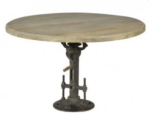 48 Quot D Dining Table Crank Industrial Old Mango Wood Iron