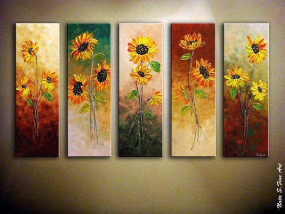"Original moderno de Painting.Abstract de arte Painting.Contemporary girasol girasoles Painting.36 de textura ""x 60"" listo a nave... - Nata s."