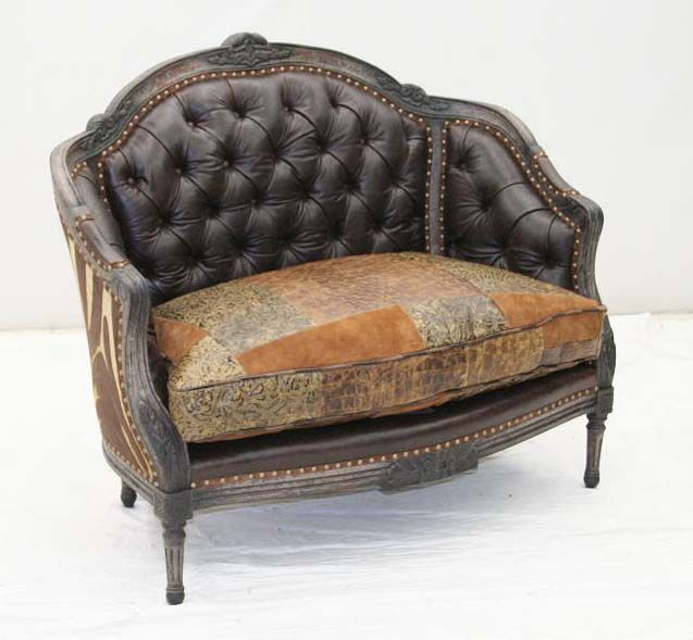 Carved Multi Leather Settee Western Sofas And Loveseats   An Array Of  Leathers And Textures Combine