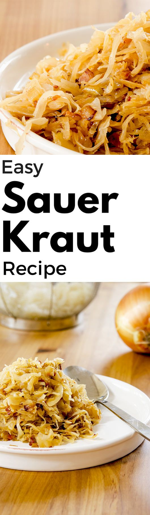 A golden brown, bacon spiked Sauerkraut Recipe ready for your table in about 20 minutes. Pairs perfectly with sausage, pork chops or pork burgers!