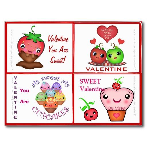 Valentine's Day Cute Food Valentines Cards Postcard - #zazzle