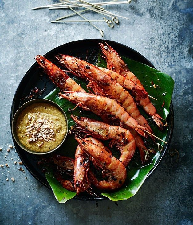 Prawn satay   Pete Evans :: Gourmet Traveller