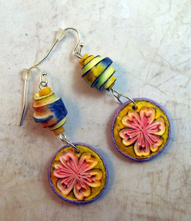 Polymer Clay Earrings   www.etsy.com/listing/214106550/artisan-earrings-textured-...