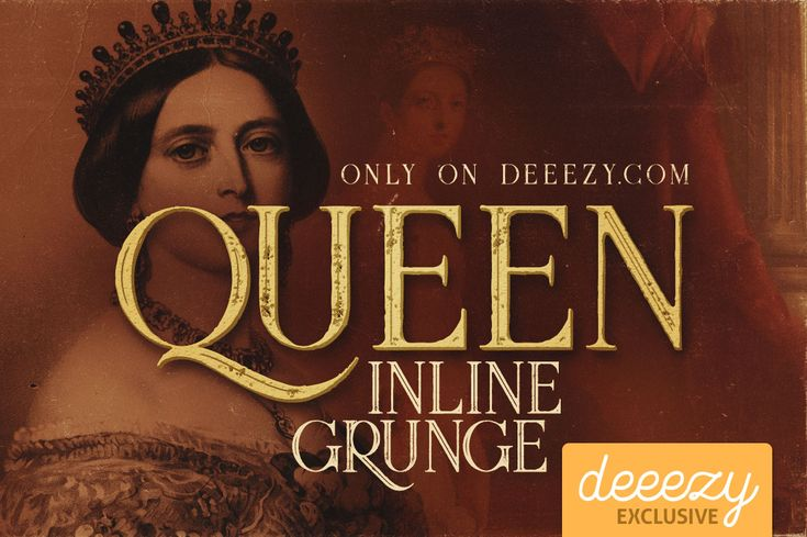 Queen Inline Grunge Font   Deeezy - Freebies with Extended License