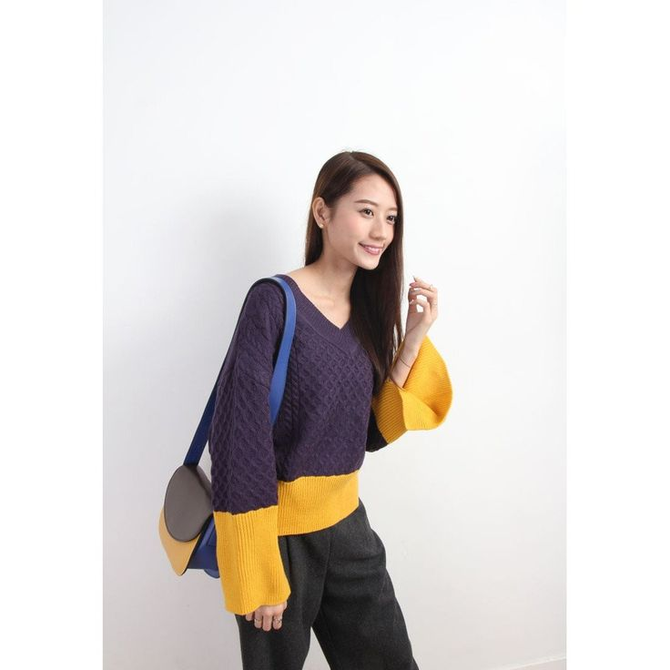 Colorblocking Cable Textural Knit Jumper