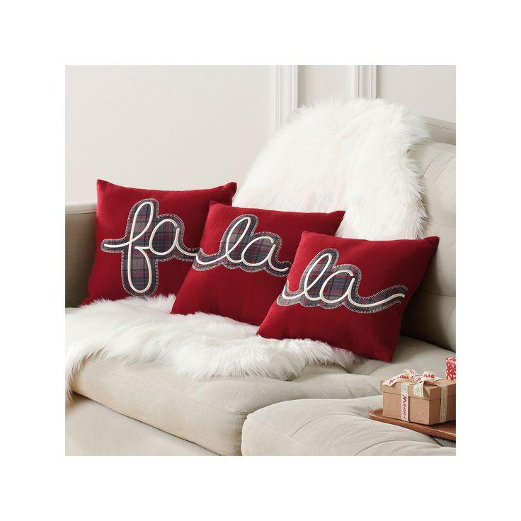 St. Nicholas Square® ''Fa La La'' 3-piece Small Throw Pillow Set, Red