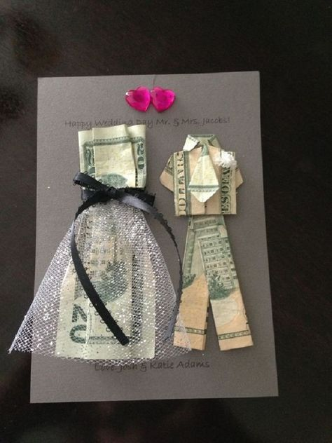 Bride and Groom Money Origami. A DIY Gift Idea for a Wedding or Anniversary. Click through for instructions to make the shirt, tie and trousers. Then scroll down the page for the link to make the dress. A direct link to make the dress can be found here --> http://www.homemade-gifts-made-easy.com/origami-dress.html