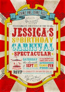Come one, Come all! It's a Vintage Carnival Birthday Invitation that you can Personalise, Edit