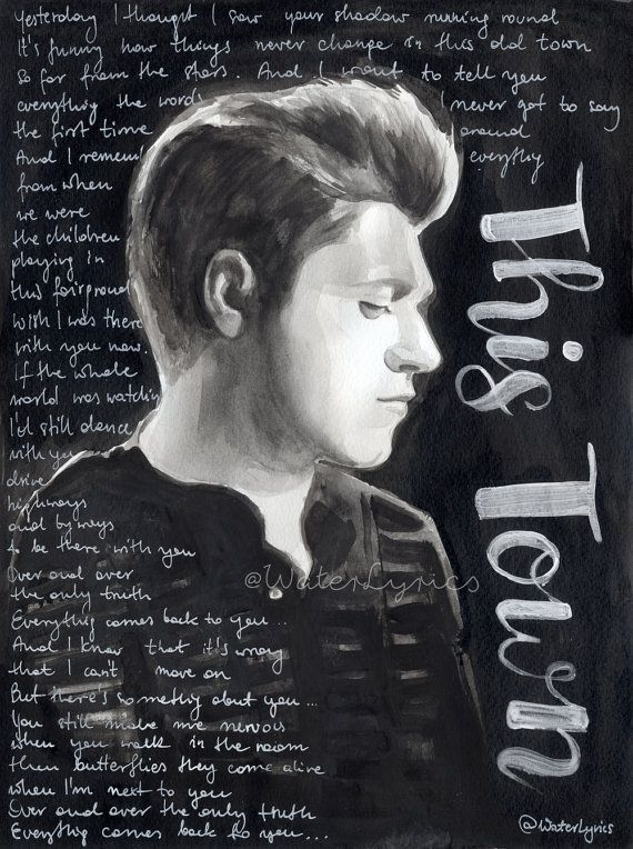 """Niall Horan original watercolor portrait with lyrics of """"This Town"""""""