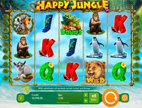 Играть в казино вулкан на автомате Happy Jungle Deluxe Компания Playson предложила игрокам казино вулкан интересную версию путешествия по джунглям в компании диких зверей и экзотических фруктов – автомат Happy Jungle Deluxe. Здесь все наполнено ощущениями животного мира, красочн�