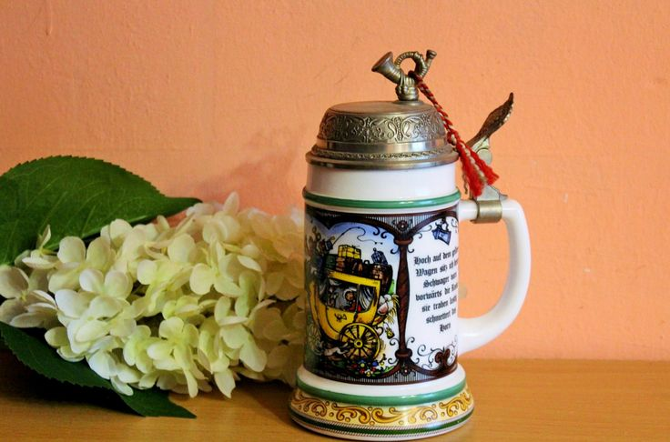 Original BMF Porcelain Lidded Beer Stein Carriage Horn On Top Vintage German by Grandchildattic on Etsy
