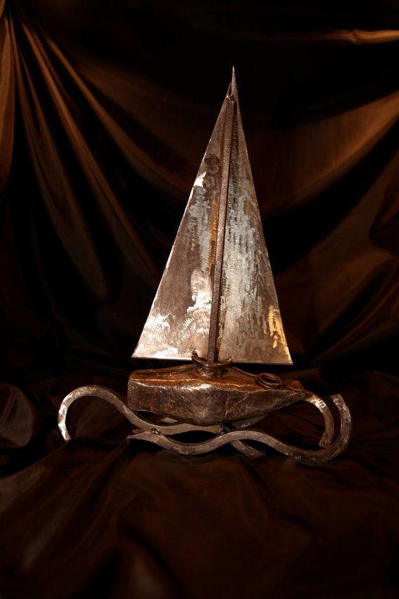 BOAT Iron metal boat piece of art original by AtelierIslandArt