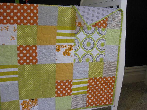 Modern Baby Quilt  oranges greys and by HeathersFeathersBaby, $149.00  Design idea