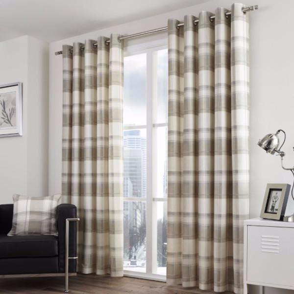 Balmoral Check Lined Eyelet Curtains Natural - Ideal Textiles