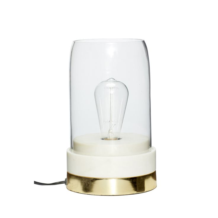 Marble, brass and glass table lamp. Product number: 510205 - Designed by Hübsch