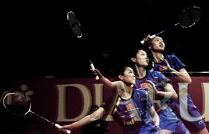 Chinese shuttler Li Xuerui in action at the Djarum Indonesia Open in Jakarta