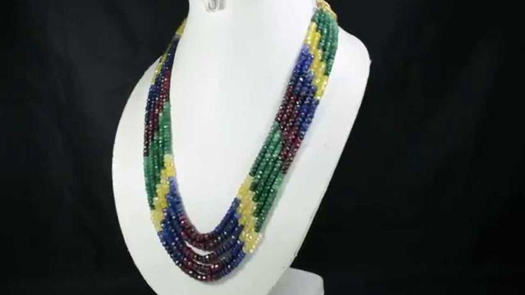 5 Strands Natural Ruby Emerald Sapphire 518ct Multi Row Gemstone Beads N...