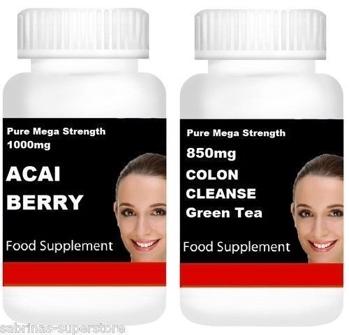 Acai Berry  Colon Cleanse & Green Tea Slimming Dieting Pills Weight Loss Bu