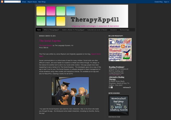 SLP, OT, PT:  Therapy App411 – This new group blog, also an Edublog nominee, is a collaborative effort of several of our favorite therapy bloggers. The aim is to review smartphone and tablet apps through a therapy lens. Is a must follow for SLPs interested in using smartphones, tablets and technology in the clinic and classroom. - Pinned by @PediaStaff – Read about all the speech blogs we recommend: http://ht.ly/9HVRX  Please Visit ht.ly/63sNt for all our pediatric therapy pins