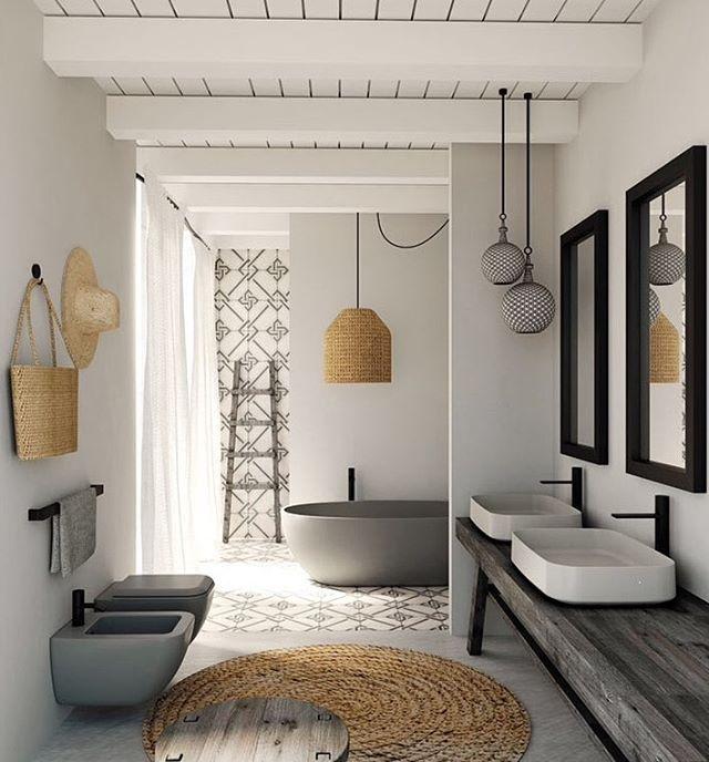 Salle de bain osier naturel carreaux de ciment