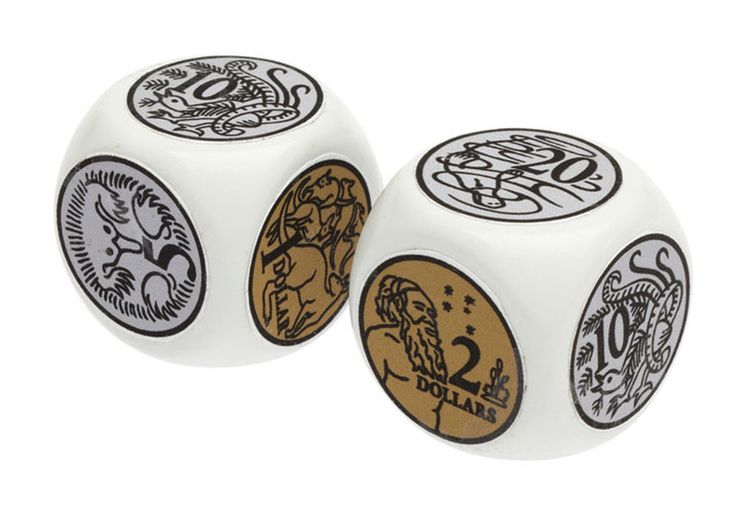 Jumbo Coin Dice - Set of 2 - Australian Play Money Games
