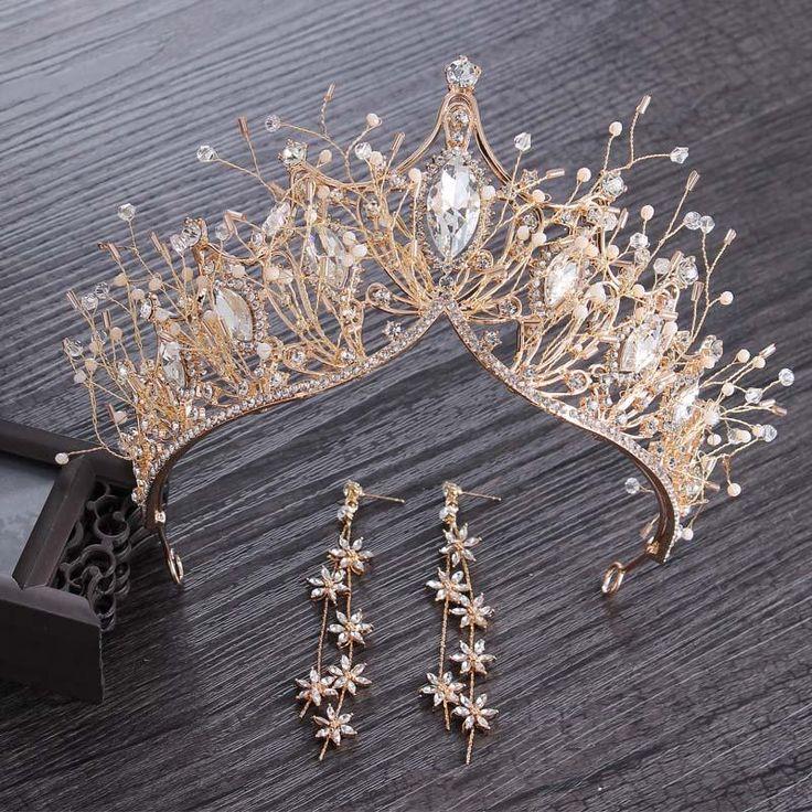 Baroque Crystal Gold Crown for Wedding Hair Accessories Gems Tiara Bride Hair wear