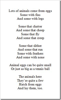 egg poem; glue on large paper egg and glue pictures of animals around poem {cutting/gluing activity}