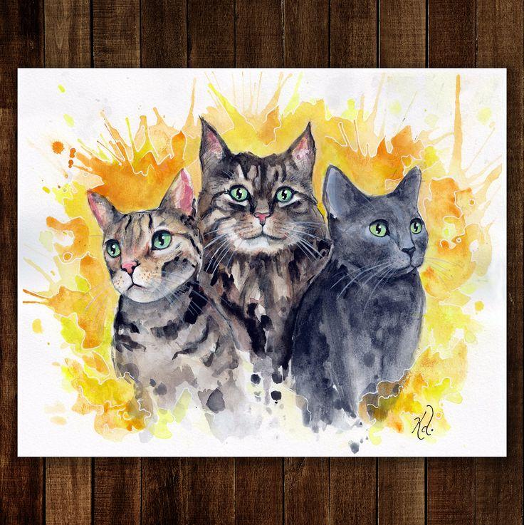 """Sandy, Joni, & Lotus"" by Kacy Doucet, available on etsy  https://www.etsy.com/ca/listing/570087726/watercolour-art-print-cat-trio-pet?ref=shop_home_active_4"