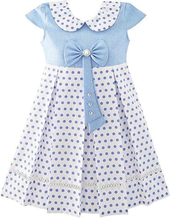 57297107d5 Amazon.com: Sunny Fashion JT33 Girls Dress Polka Dot School Bow Tie Pearl  Cap Sleeve Size 6: Clothing