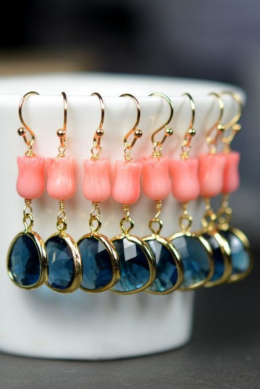 Navy Coral Bridesmaid jewelry sapphire blue Gold by thefabwedding2, $29.99
