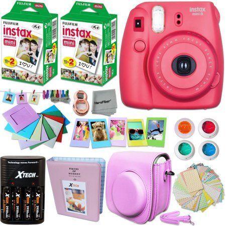 FujiFilm Instax Mini 8 Camera RASPBERRY + Accessories KIT for Fujifilm Instax Mini 8 Camera includes: 40 Instax Film + Custom Case + 4 AA Rechargeable Batteries + Assorted Frames + Photo Album + MORE - Walmart.com