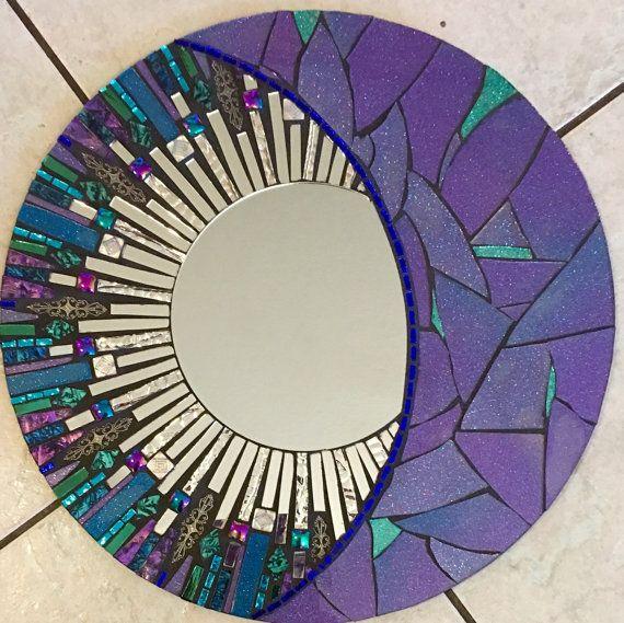 16 azul y púrpura brillo mosaico redondo vidrio por SolSisterDesign
