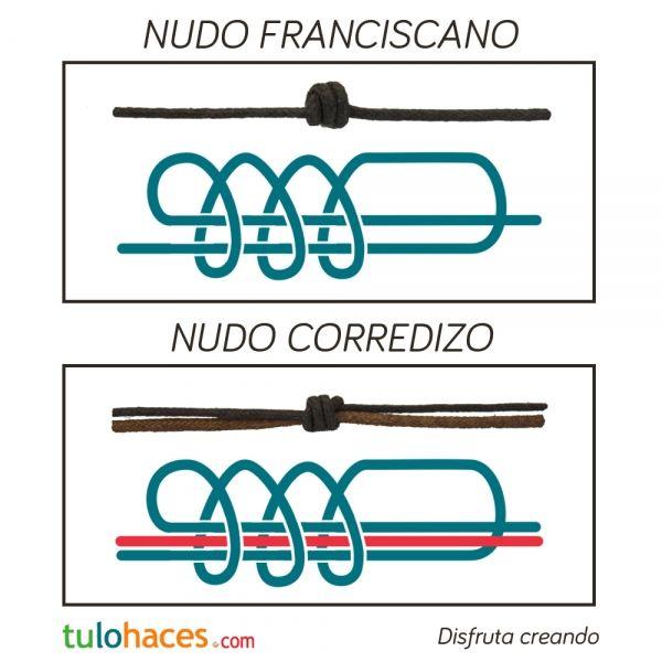Nudos macramé: Nudo franciscano y nudo corredizo | Abalorios online.Tulohaces.com