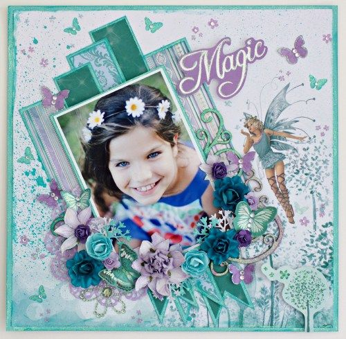 """""""Magic"""" layout by Alicia McNamara (final DT project July 2016) for Kaisercraft using 'Enchanted' collection - Wendy Schultz ~ Scrapbook layouts."""