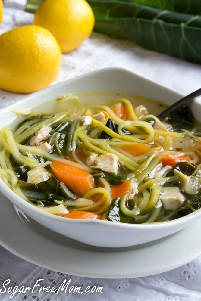 Lightened Up Chicken Zoodle Soup {Low Carb & Gluten Free}