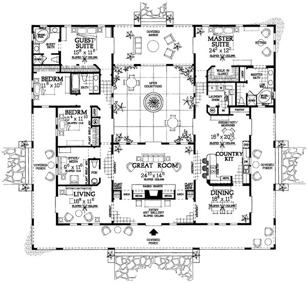 Mediterranean Ranch Southwest House Plan 90269 The