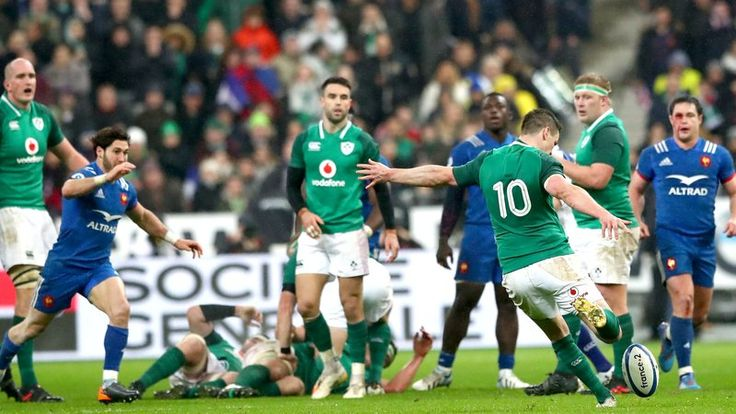 Johnny Sexton coolly lands the match-winning drop goal in injury-time at the Stade de France