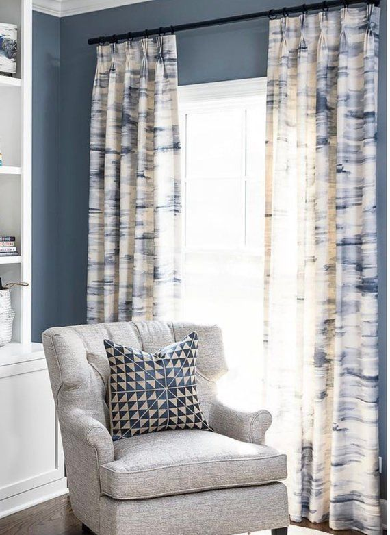 Blue White Curtains Gray D